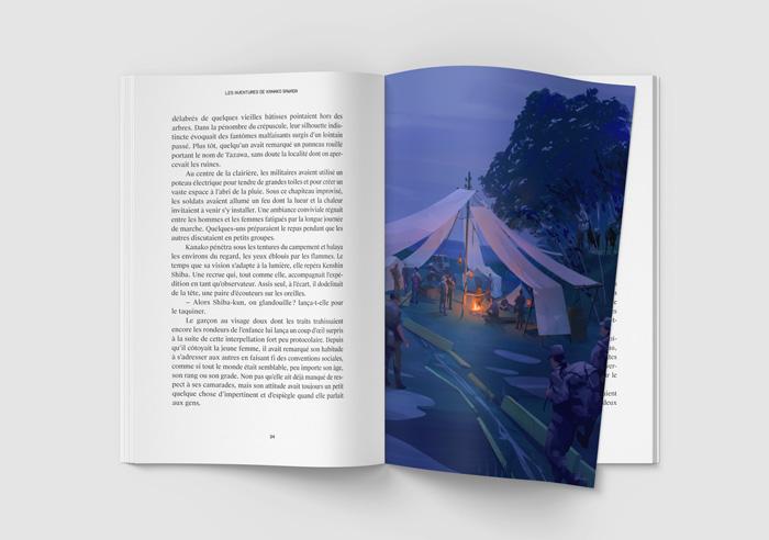 Mockup de l'illustration de Sandrine Pilloud | Campfire | Livre Kanako Sawada écrit par Lionel Tardy - home page