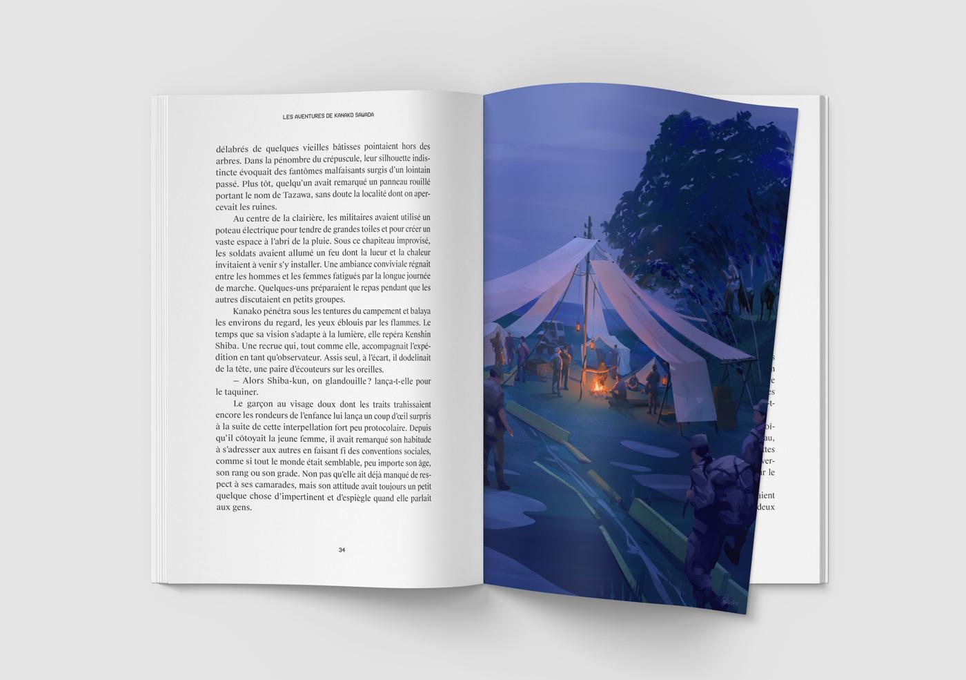 Mockup de l'illustration de Sandrine Pilloud | Campfire | Livre Kanako Sawada écrit par Lionel Tardy