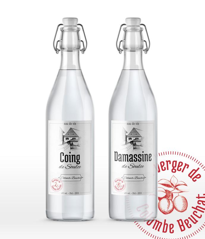 Graphisme de Sandrine Pilloud | Design d'étiquette d'eau de vie | Colombe Beuchat - home page