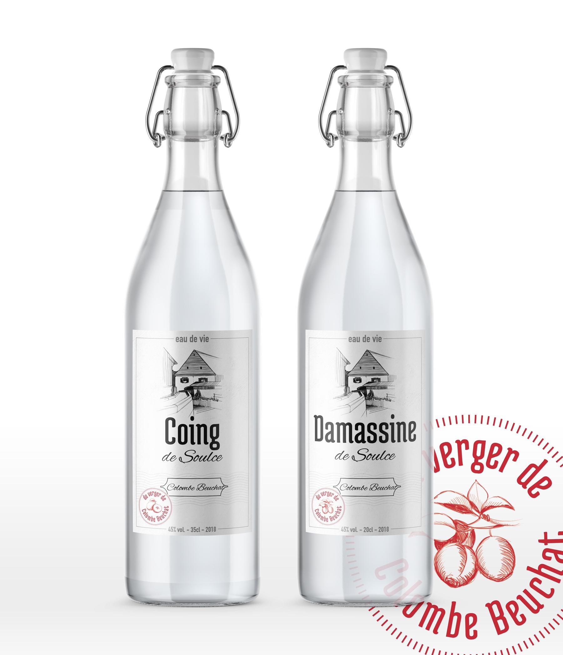 Graphisme de Sandrine Pilloud | Design d'étiquette d'eau de vie | Colombe Beuchat