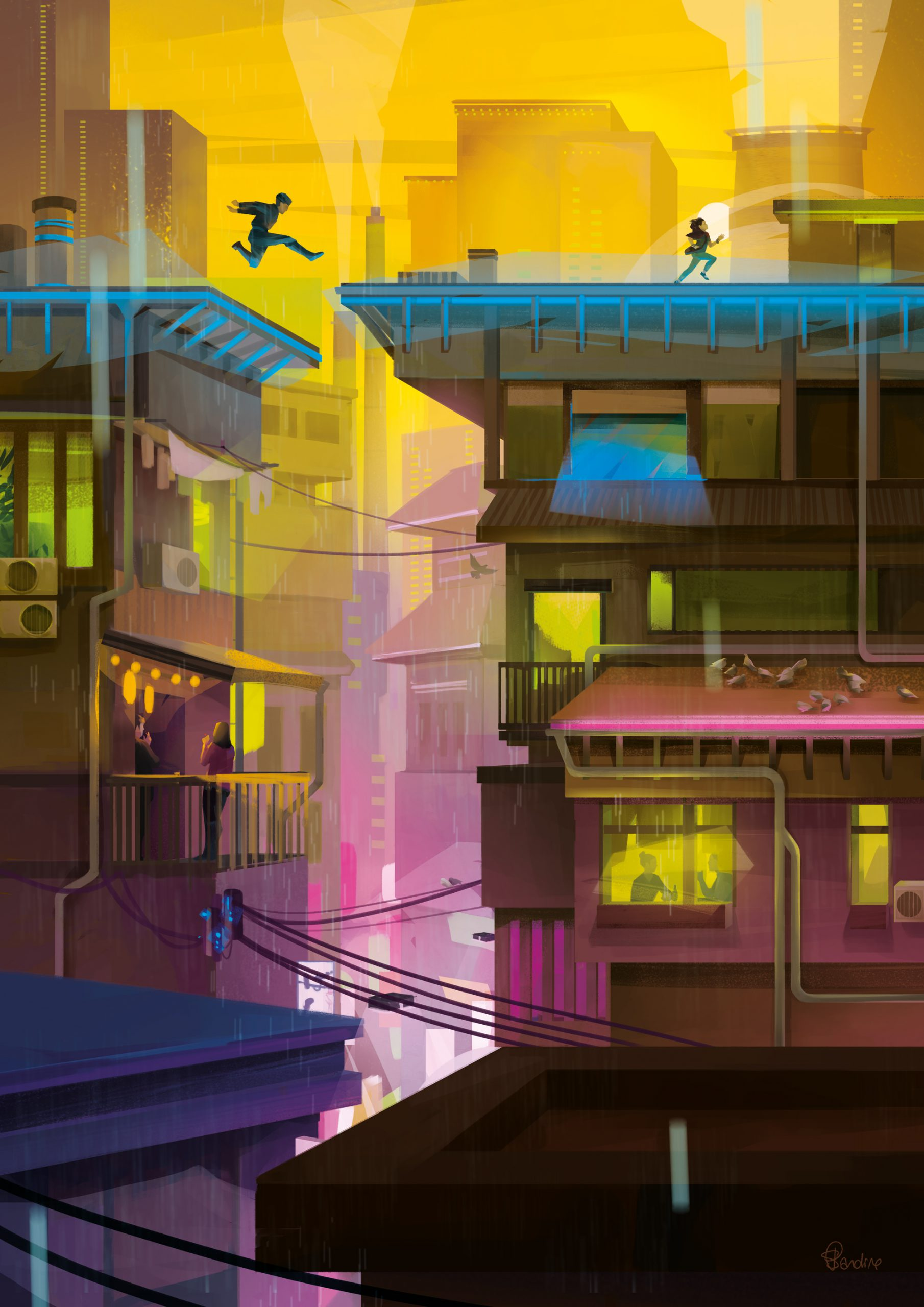 Illustration de Sandrine Pilloud | Chasing | Livre Kanako Sawada écrit par Lionel Tardy