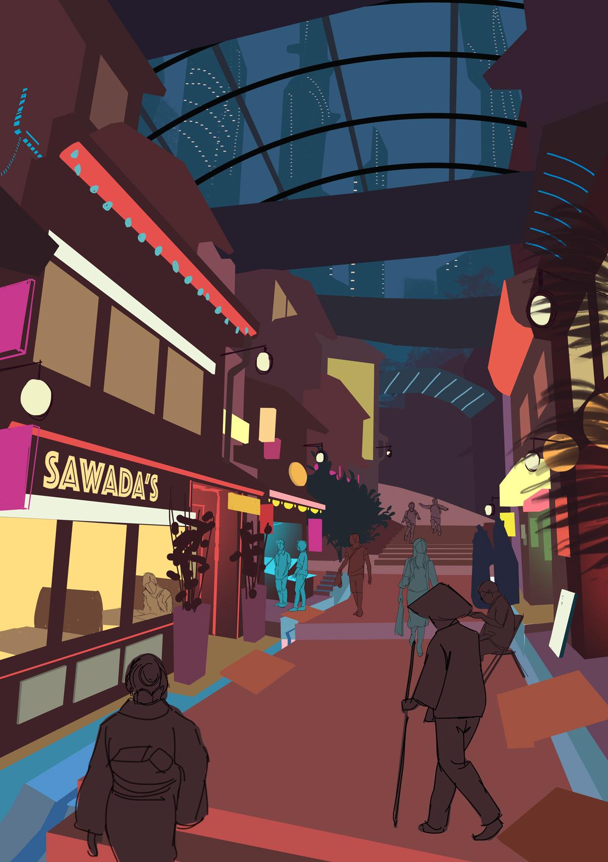 Illustration de Sandrine Pilloud | Japanese Market | Livre Kanako Sawada écrit par Lionel Tardy
