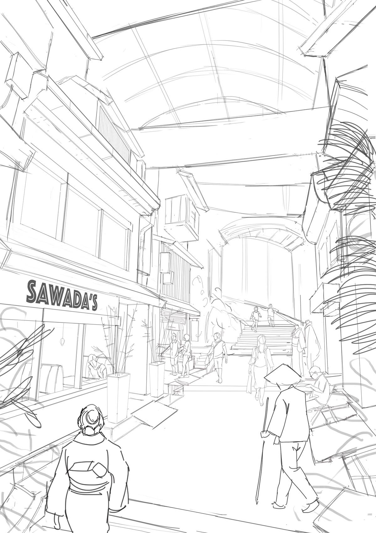 Illustration de Sandrine Pilloud | Japanese Market Sketch | Livre Kanako Sawada écrit par Lionel Tardy