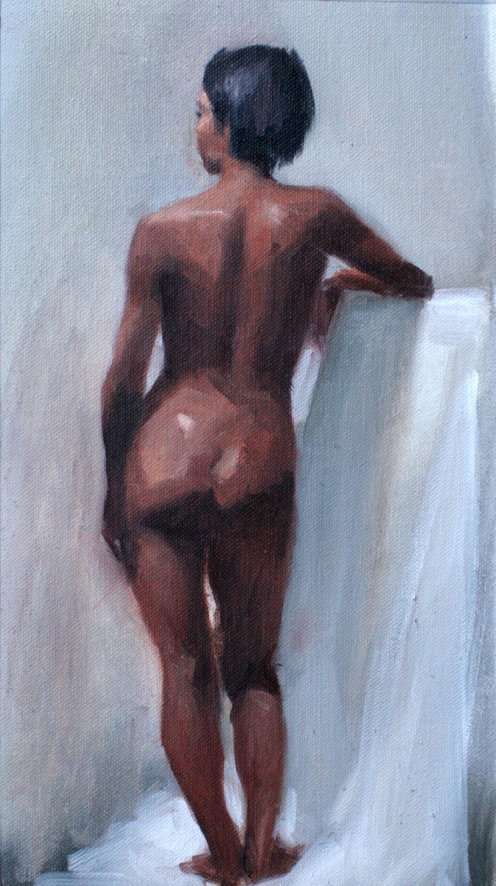 Peinture académique (femme noire) avec modèle de Sandrine Pilloud | Peinture à l'huile