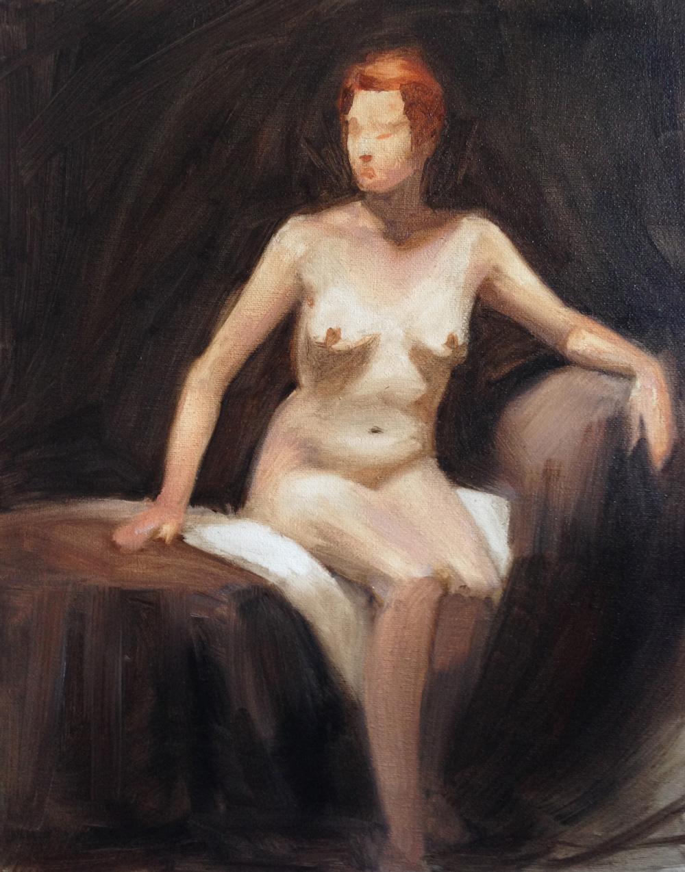 Peinture académique (femme rousse) avec modèle de Sandrine Pilloud   Peinture à l'huile
