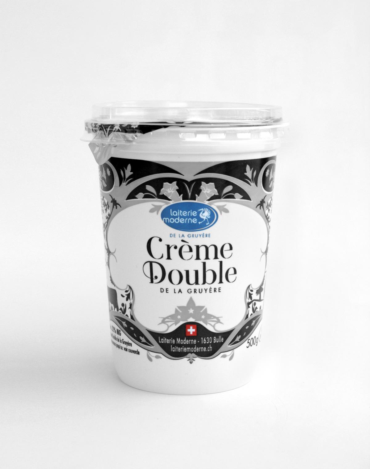 Graphisme de Sandrine Pilloud | Design de pot de yogourt de la Laiterie Moderne | Double crème isolé