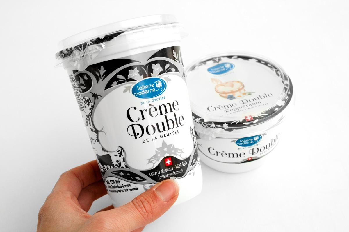Graphisme de Sandrine Pilloud | Design de pot de yogourt de la Laiterie Moderne | Double crème