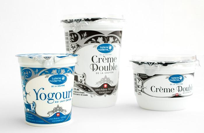 Graphisme de Sandrine Pilloud | Design de pot de yogourt de la Laiterie Moderne | groupe - home page