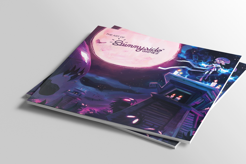 Graphisme de Sandrine Pilloud | Mise en page d'un art book pour Sunnyside Games - couverture