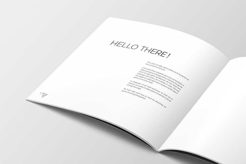 Graphisme de Sandrine Pilloud | Mise en page d'un art book pour Sunnyside Games - page hello