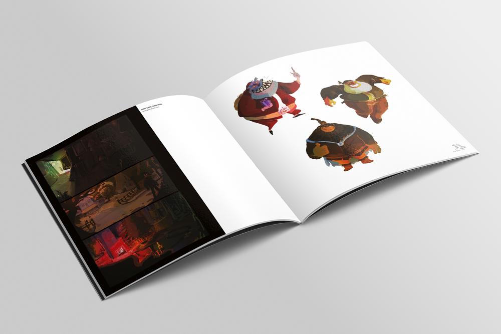 Graphisme de Sandrine Pilloud | Mise en page d'un art book pour Sunnyside Games - pages intérieures