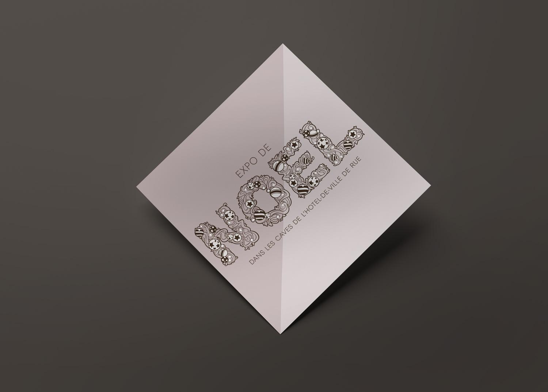 Flyer graphique de Sandrine Pilloud pour l'Atelier Hèliconie | Exposition de Noël
