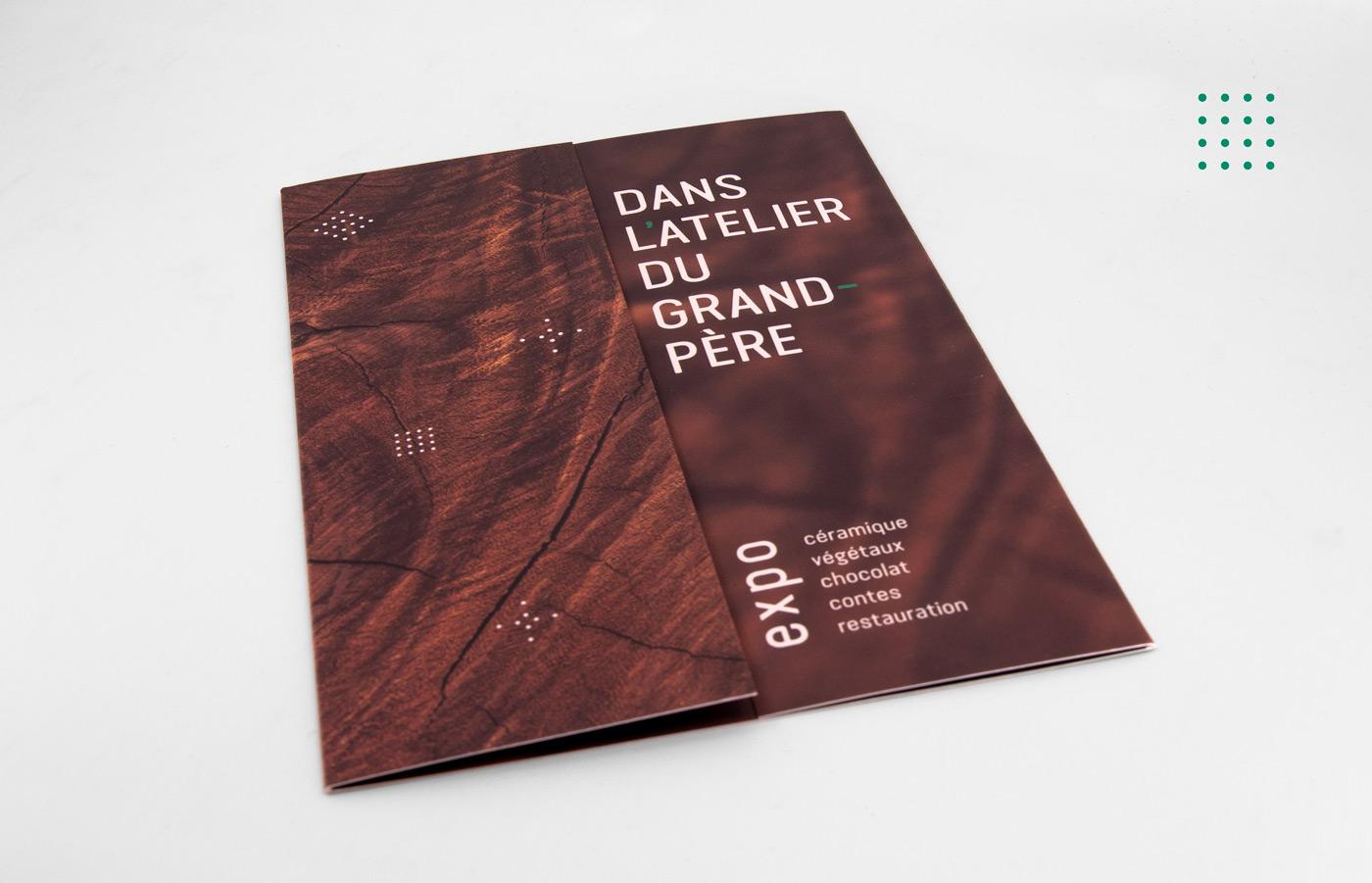 Dépliant de Sandrine Pilloud | Dans l'Atelier du Grand-Père vue 1 | Graphisme
