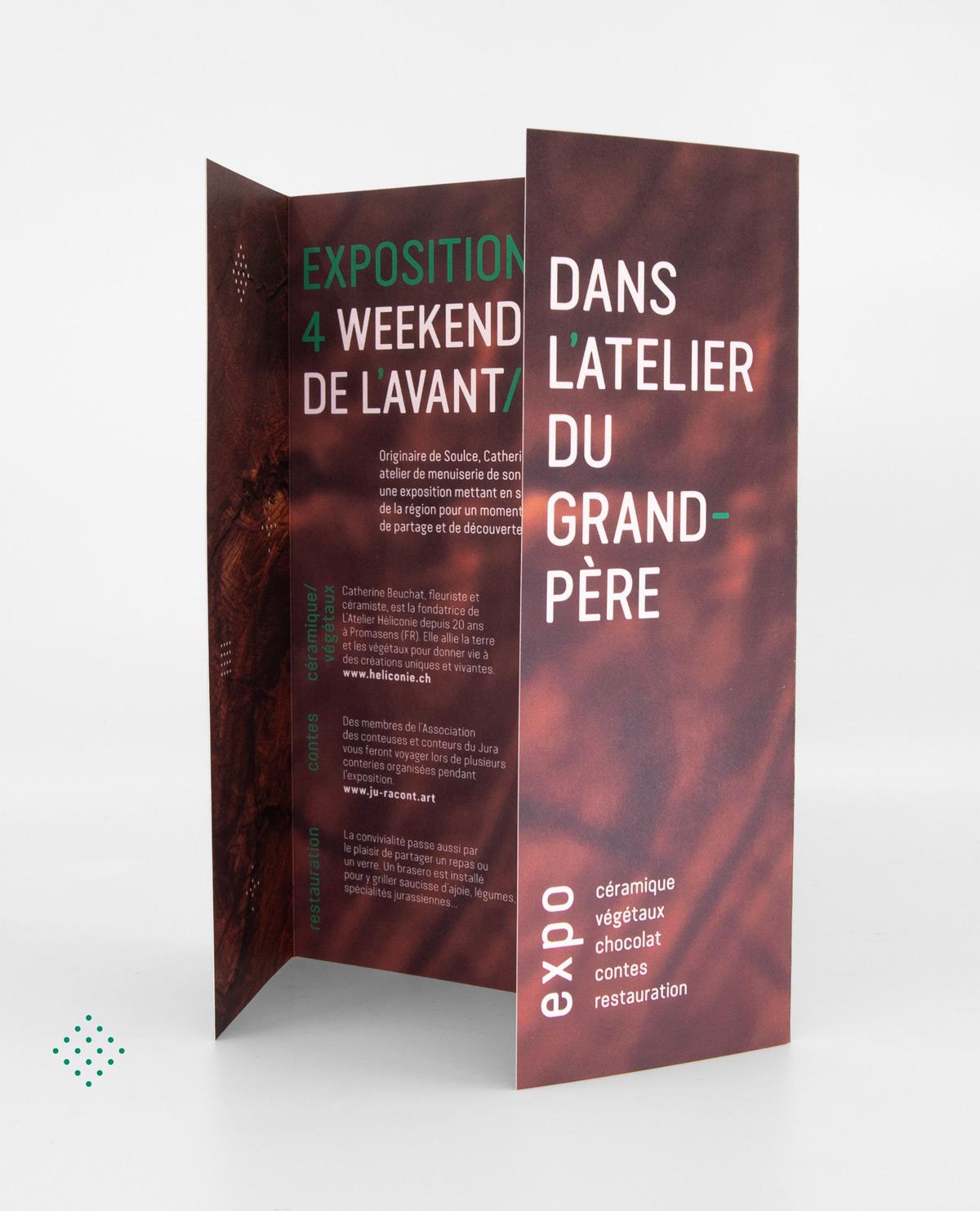 Dépliant de Sandrine Pilloud | Dans l'Atelier du Grand-Père vue 2 | Graphisme