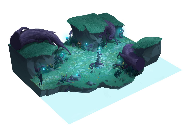 Concept Art de Sandrine Pilloud | Plateforme d'un jeu vidéo
