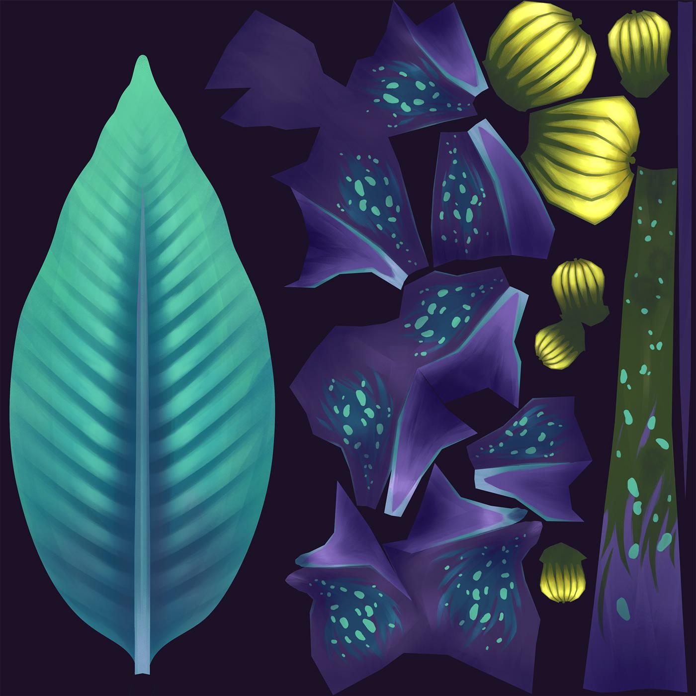 Texture 3D hand painted de Sandrine Pilloud | toxic plant texture UV