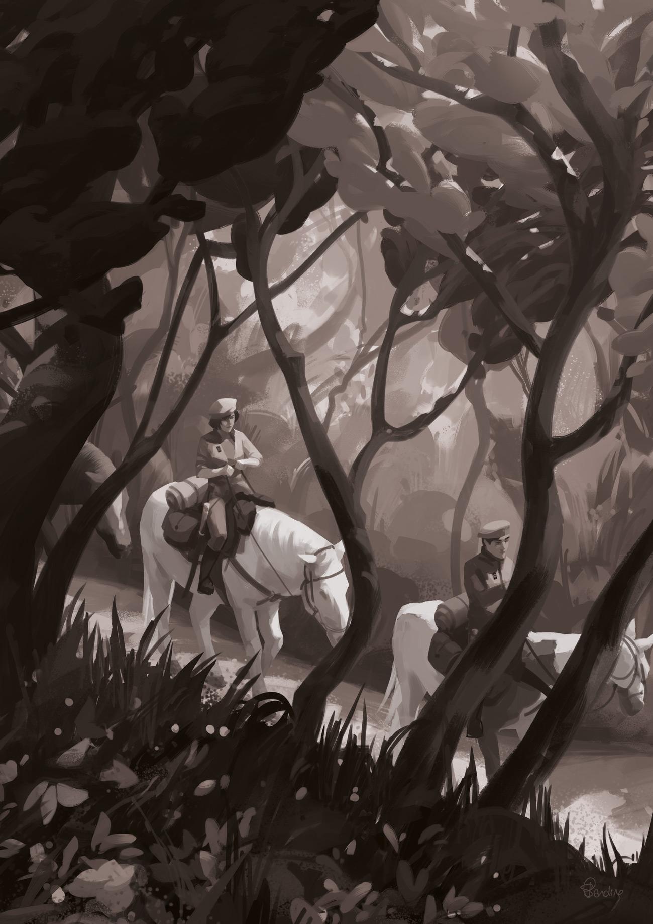Illustration de Sandrine Pilloud | To kamikochi, version noire et blanche | Livre Kanako Sawada écrit par Lionel Tardy