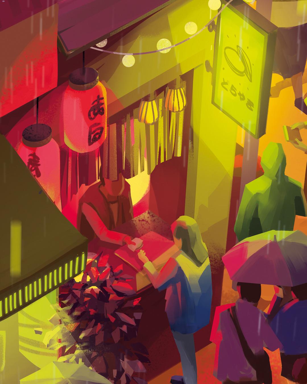 Illustration de Sandrine Pilloud | Ayumi Surplombe la Rue | Livre Kanako Sawada écrit par Lionel Tardy