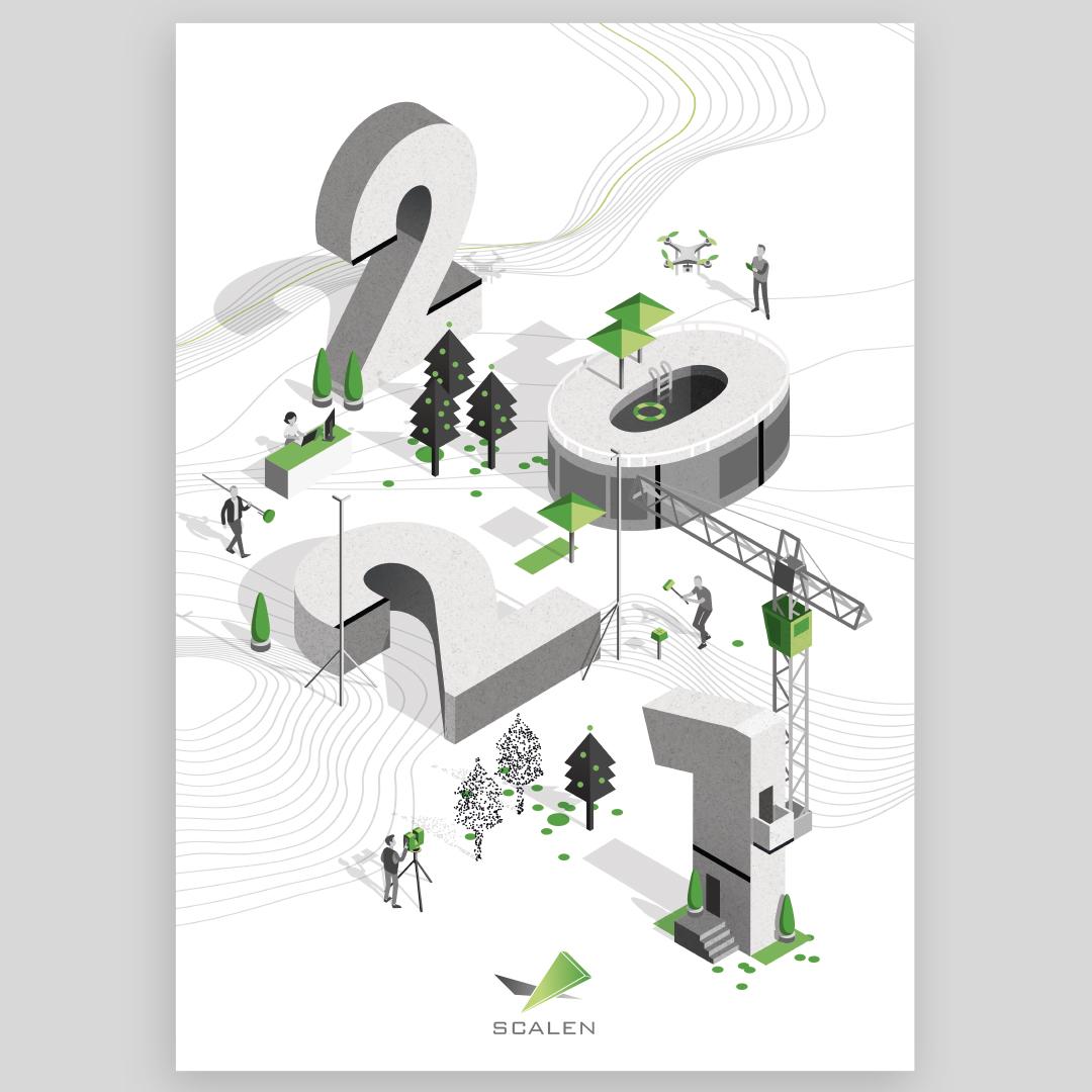 Illustration et Graphisme de Sandrine Pilloud pour le flyer de fin d'année de Scalen - recto