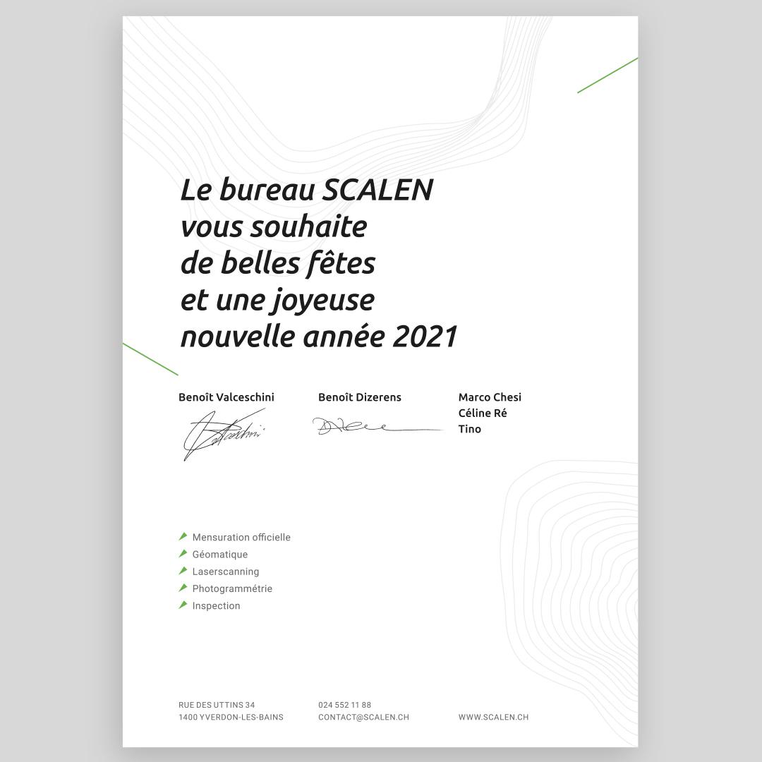 Illustration et Graphisme de Sandrine Pilloud pour le flyer de fin d'année de Scalen - verso